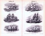 Schiffstypen aller Zeiten I. - III. ca. 1893 Original der Zeit