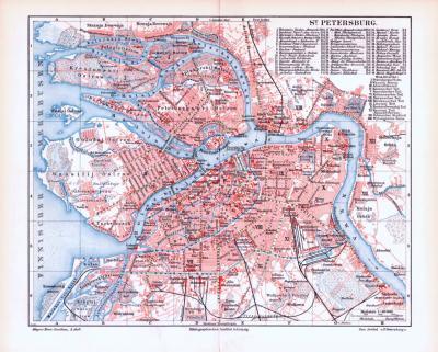 Farbige Illustration aus 1893 eines Stadplans von Sankt Petersburg und Umgebungskarte von Sankt Petersburg.