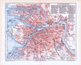 Farbige Illustration aus 1893 eines Stadplans von Sankt...