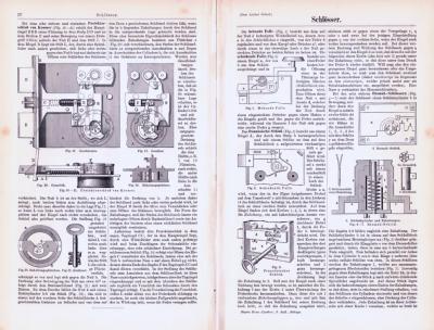 Technische Abhandlung aus 1893 mit Stichen zum Thema Schlösser.