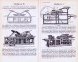 Technische Abhandlung mit Stichen aus 1893 zum Thema Schnellpressen.