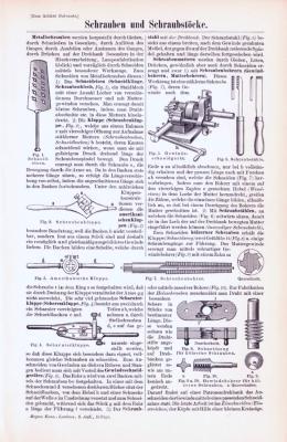 Technische Abhandlung mit Stichen aus 1893 zum Thema Schrauben und Schraubstöcke.