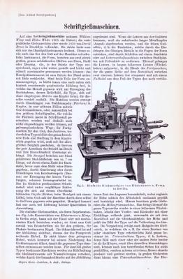 Technische Abhandlung mit Stichen aus 1893 zum Thema Schriftgießmaschinen.