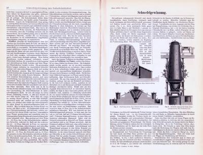 Technische Abhandlung mit Stichen aus 1893 zum Thema Schwefelgewinnung.