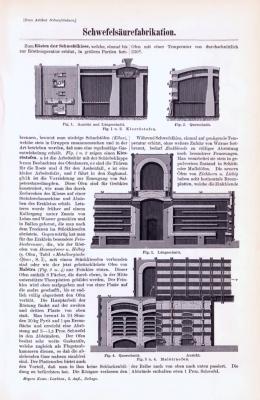Technische Abhandlung mit Stichen aus 1893 zum Thema Schwefelsäurefabrikation.