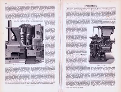 Technische Abhandlung mit Stichen aus 1893 zum Thema Setzmaschinen.