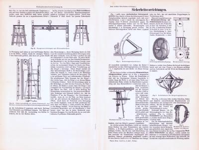 Technische Abhandlung mit Stichen aus 1893 zum Thema Sicherheitsvorrichtungen.