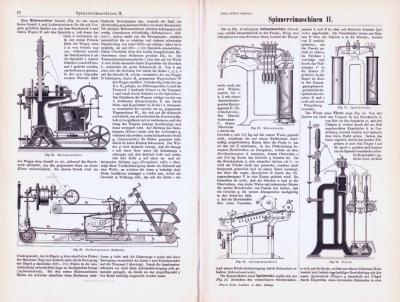 Technische Abhandlung mit Stichen aus 1893 zum Thema Spinnereimaschinen.