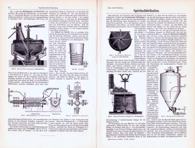 Technische Abhandlung mit Stichen aus 1893 zum Thema Spiritusfabrikation.