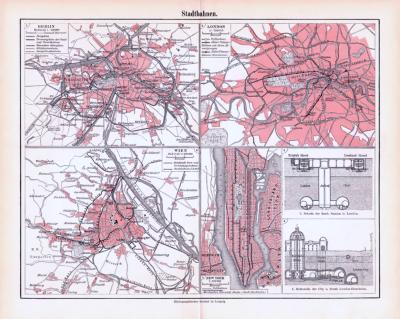 Farbig illustrierte Karte und Technische Abhhandlung zum Thema Stadtbahnen aus 1893.