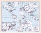Farbig illustrierte Karte und Technische Abhhandlung zum Thema Verbreitung der Steinkohle auf der Erde aus 1893.