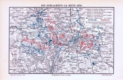 Farbige Illustration aus 1893 einer Militärkarte der Schlachten um Metz im Jahr 1870.