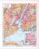 Stadtplan von New York und Umgebung aus 1893 in einer farbigen Illustration. Im Maßstab von 1 zu 200.000 mit Extrafenster des New York Südlicher Teil.