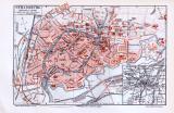 Farbig illustrierter Stadtplan von Strassburg aus dem Jahr 1893. Maßstab 1 zu 19.000.