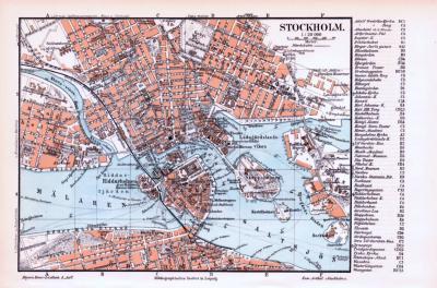 Farbige Illustrationen aus 1893 zeigen einen Stadtplan von Stockholm im Maßstab von 1 zu 20.000 und eine Umgebungskarte im Maßstab von 1 zu 150.000.