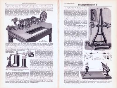 Technische Abhandlung mit Stichen aus 1893 zum Thema Telegraphenapparate.