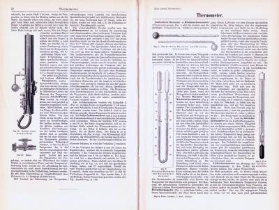 Technische Abhandlung mit Stichen aus 1893 zum Thema Thermometer.
