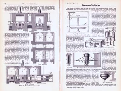Technische Abhandlung mit Stichen aus 1893 zum Thema Thonwarenfabrikation.