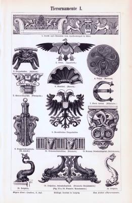 Stiche aus 1893 zeigen verschiedene kunsthandwerkliche Tierornamente.