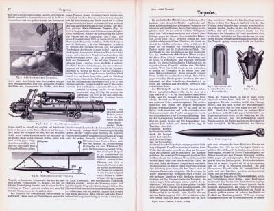 Technische Abhandlung mit Stichen aus 1893 zum Thema Torpedos.