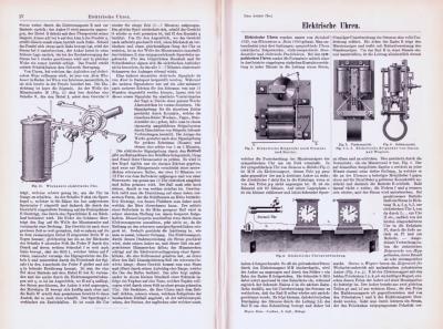 Technische Abhandlung mit Stichen aus 1893 zum Thema Elektrische Uhren.
