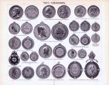 Stich aus 1893 zeigt Verdienstmedaillen und Verdienstkreuze.