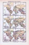 Farbig illustrierte Weltkarten aus 1893 zeigen die Verbreitung verschiedener Vogelarten.