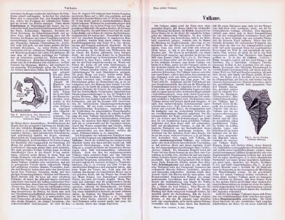 Technische Abhandlung mit Stichen aus 1893 zum Thema Vulkane.