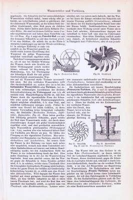 Technische Abhandlung mit Stichen aus 1893 zum Thema Wasserräder und Turbinen.