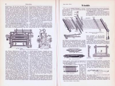 Technische Abhandlung mit Stichen aus 1893 zum Thema Webstühle.