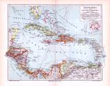 Farbige Illustration aus 1893 von Landkarten der Karibik und des Panamakanals sowie des geplanten Nicaraguakanals.