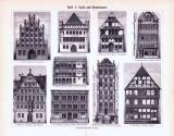Geschichte des Wohnhauses I. + Tafel I. Gotik und Renaissance ca. 1893 Original der Zeit