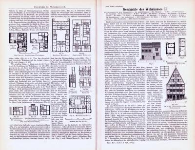 Abhandlung zur Geschichte des Wohnhauses und Stiche aus 1893 zeigen Häuser der Gegenwart.