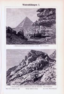 Stiche aus 1893 zeigen Wüstenlandschaften.