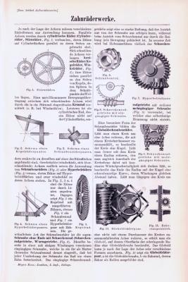 Technische Abhandlung mit Stichen aus 1893 zum Thema Zahnräderwerke.