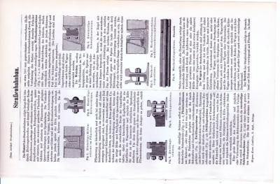 Technische Abhandlung mit Stichen aus 1893 zum Thema Straßenbahnbau.
