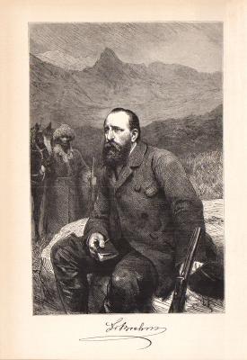 Stich aus 1890 zeigt Alfred Edmund Brehm in sitzender Pose vor einer Berglandschaft.