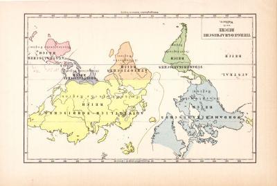 Farbige Illustration einer Weltkarte von 1890 zeigt die Tierreiche der Welt.