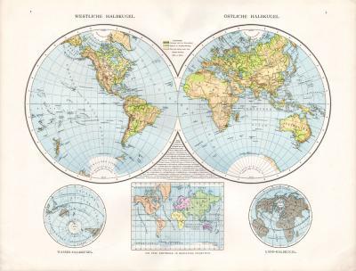 Farbig illustrierte Weltkarte aus dem Jahr 1881 zeigt westliche und östliche Halbkugel sowie Wasser und Land Halbkugel. Eine kleine Übersichtskarte zeigt die 5 Weltteile in Mercators Projektion.