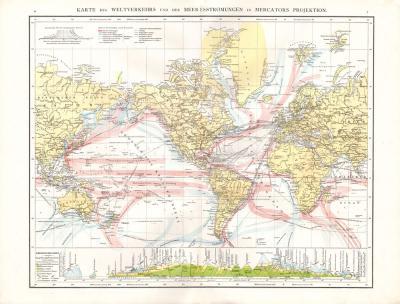 Farbig illustrierte Weltkarte aus dem Jahr 1881 zeigt den Weltverkehr und Meeresströmungen in Mercators Projektion.