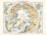 Farbig illustrierte Karte der Nordpolarregion aus dem Jahr 1881 mit Angabe der verschiedenen Expeditionen.