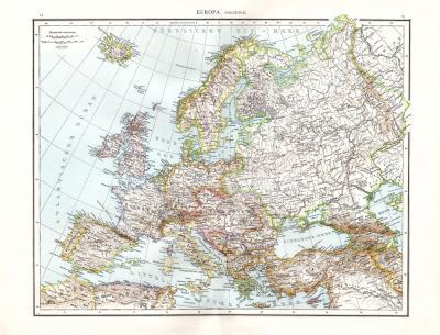 Farbig illustrierte politische Karte aus dem Jahr 1881 zeigt die Länder Europas im Maßstab 1 zu 12 Millionen.