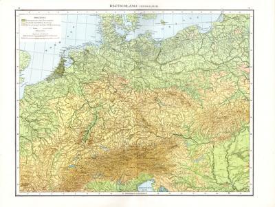 Farbig illustrierte Karte von Deutschland aus dem Jahr 1881. Enthält Höhenangaben. Maßstab 1 zu 3,4 Millionen.