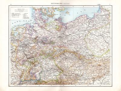 Farbig illustrierte politische Karte von Deutschland aus dem Jahr 1881 im Maßstab 1 zu 2,7 Millionen.