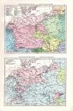 Farbig illustrierte politische Karte von Deutschland aus...