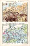 Deutschland politische Karte ca. 1881 Original der Zeit