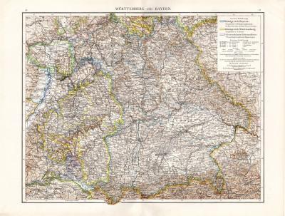 Farbig illustrierte Karte von Württemberg und Bayern aus dem Jahr 1881 im Maßstab 1 zu 1 Millionen.