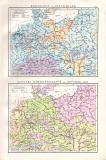 Württemberg und Bayern Landkarte ca. 1881 Original der Zeit