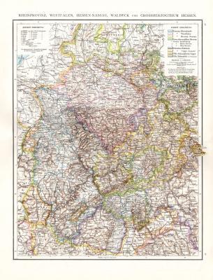 Farbig illustrierte Landkarte aus dem Jahr 1881 zeigt die Rheinprovinz, Westfalen, Hessen-Nassau, Waldeck und das Großherzogtum Hessen. Maßstab 1 zu 1 Million.