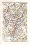 Farbig illustrierte Landkarte aus dem Jahr 1881 zeigt die...